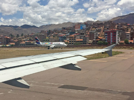 Waiting on the runway at the airport in Cuzco, Peru.