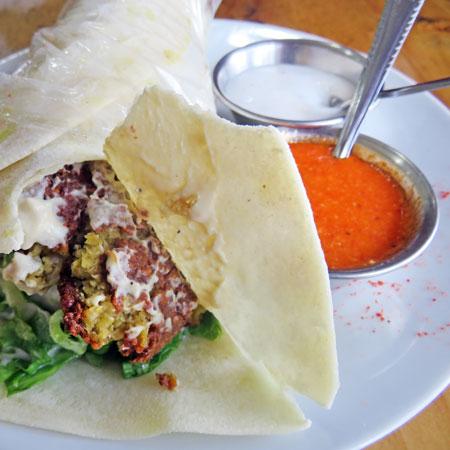 A falafel sandwich at Tarboush in Lima, Peru.