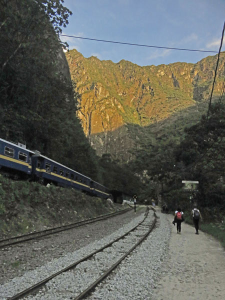 A Peru Rail train parked on a side track near Aguas Calientes, Peru.