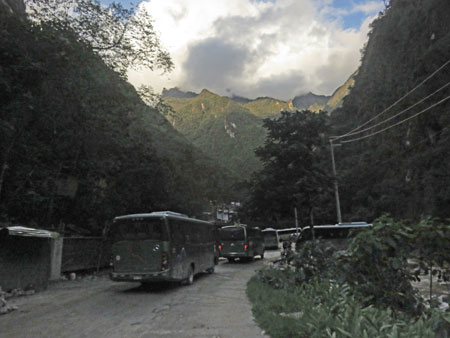 Walking into Aguas Calientes, Peru.