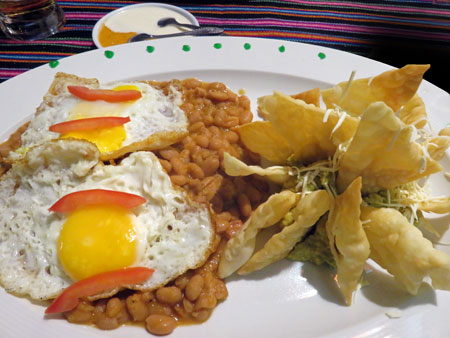 Overpriced huevos rancheros in Aguas Calientes, Peru.