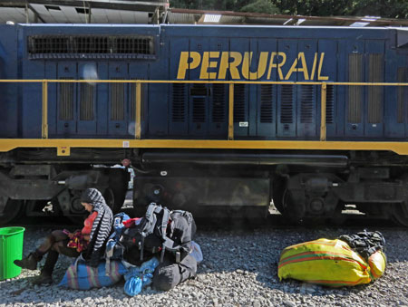 A Peru Rail locomotive near Hidroelectrica, Peru.