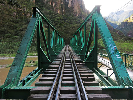 A railroad bridge in between Hidroelectrica and Aguas Calientes, Peru.