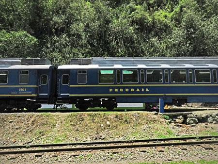A Peru Rail train near Aguas Calientes, Peru.
