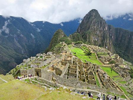 An overview of Machu Picchu, Peru.